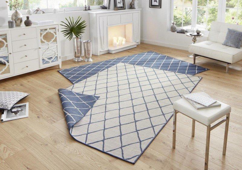 Modrý moderní oboustranný kusový koberec Twin-Wendeteppiche - délka 350 cm a šířka 80 cm