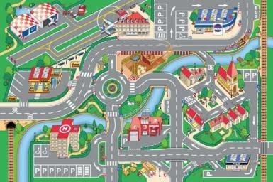 Různobarevný kusový hrací dětský koberec - délka 150 cm a šířka 100 cm
