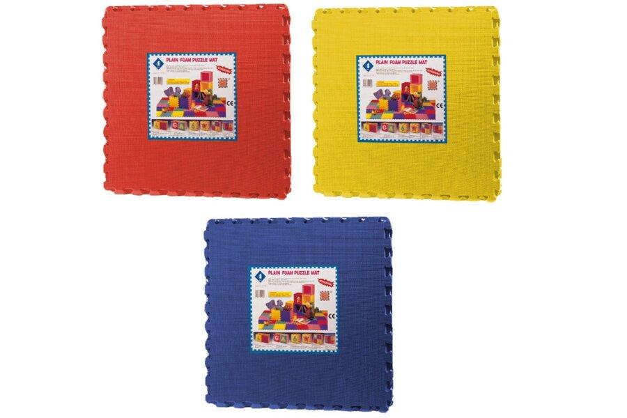 Červená dětská modulární pěnová hrací podložka (4x puzzle) SPARTAN SPORT - délka 120 cm, šířka 120 cm a výška 1,4 cm