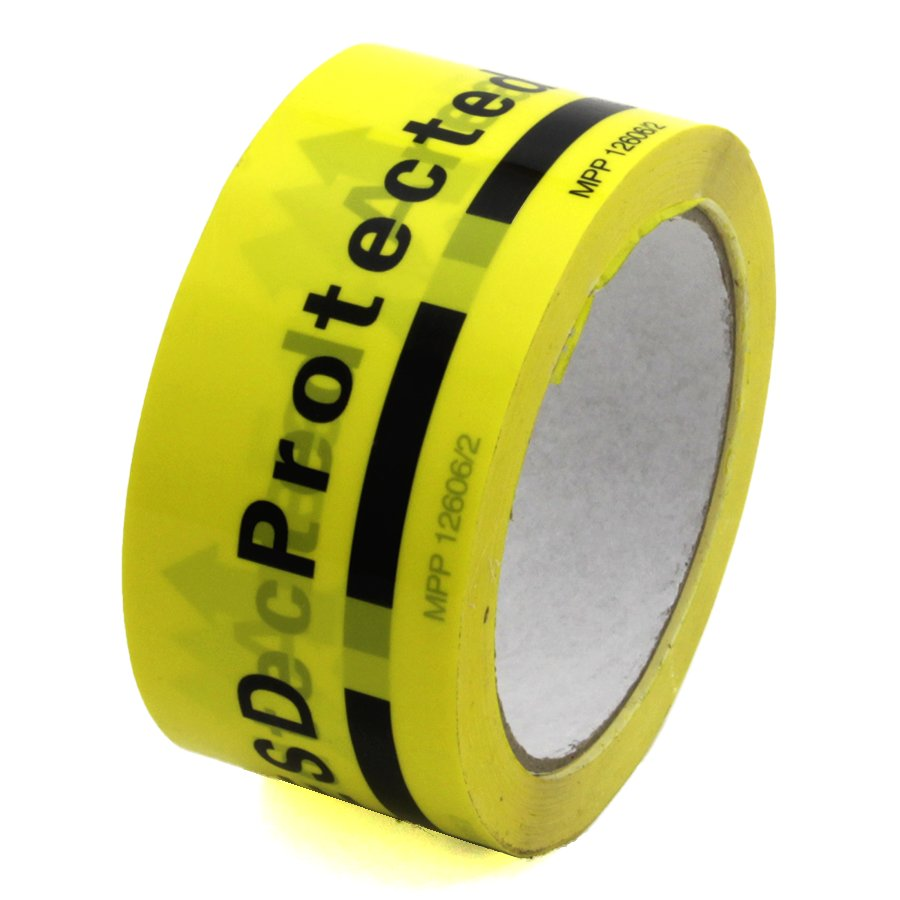 "Žlutá antistatická ESD páska ""ESD PROTECTED AREA"" - délka 33 m a šířka 5 cm"