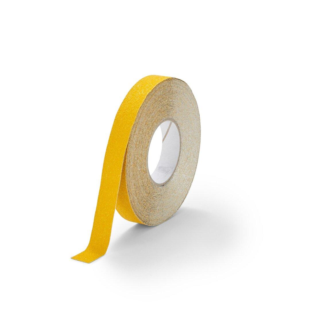 Žlutá korundová protiskluzová páska pro nerovné povrchy FLOMA Conformable - délka 18,3 m, šířka 2,5 cm a tloušťka 1,1 mm