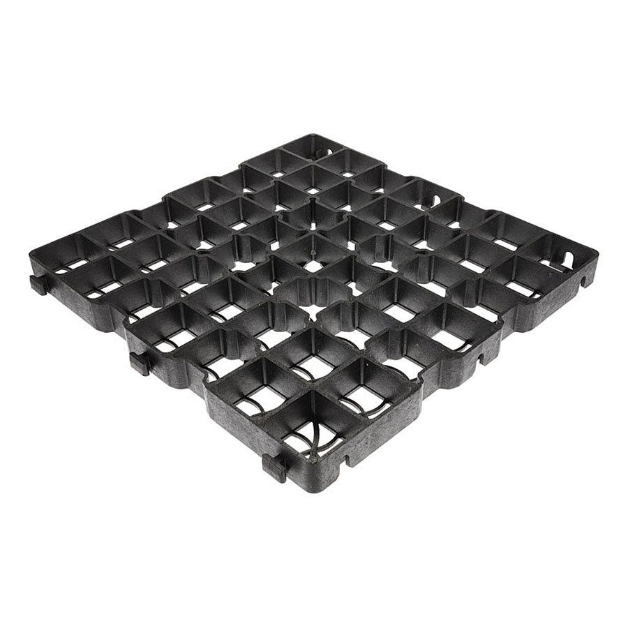 Černá plastová zátěžová zatravňovací dlažba GE40 - délka 50 cm, šířka 50 cm a výška 4 cm