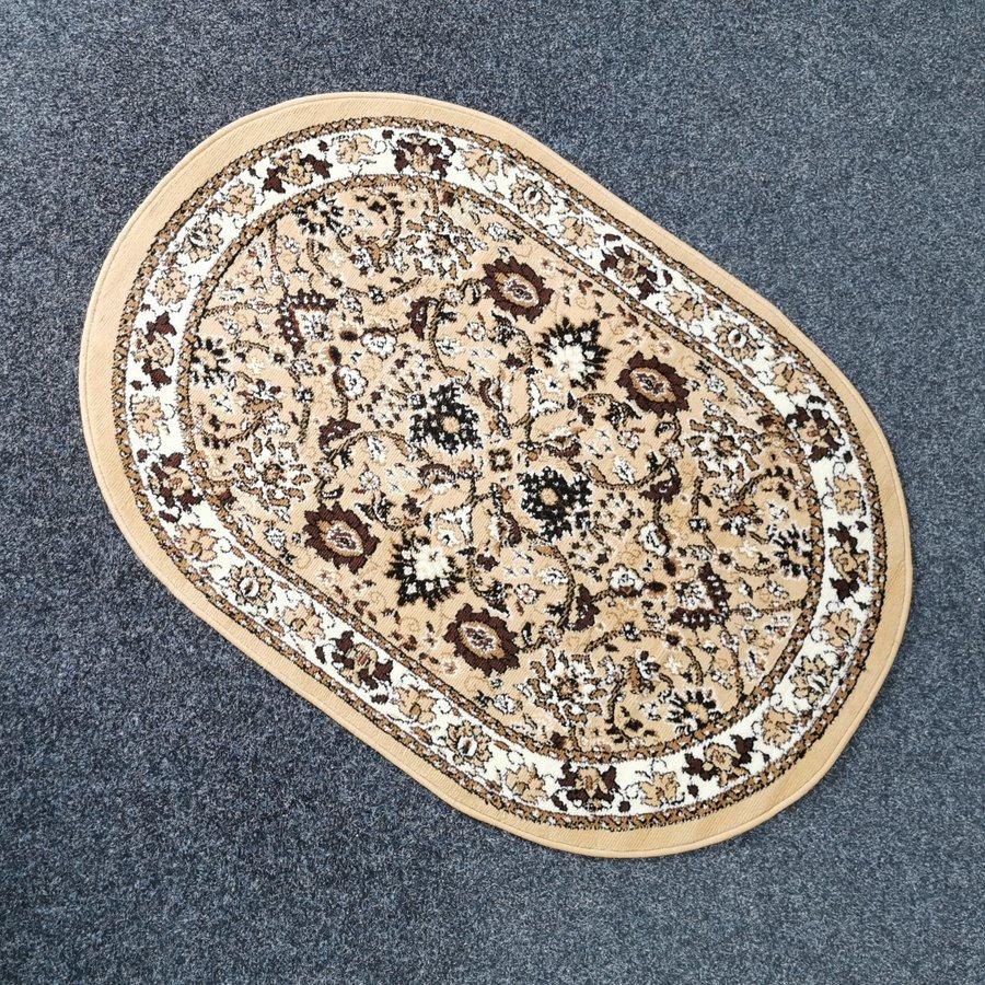 Béžový orientální kusový oválný koberec Teheran-T - délka 150 cm a šířka 100 cm