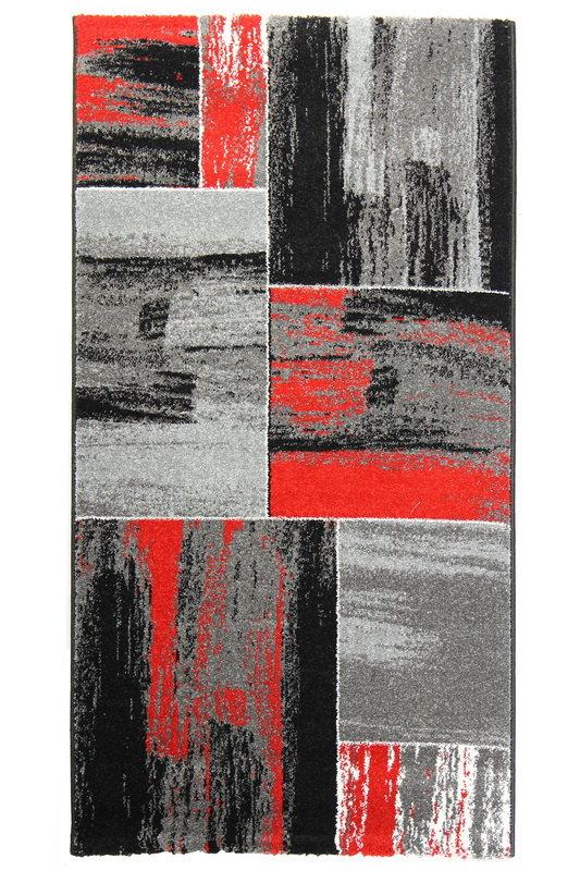 Červený kusový moderní koberec Hawaii