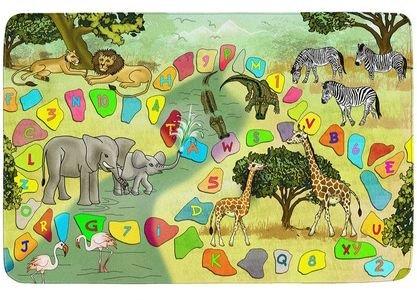 Různobarevný hrací kusový dětský koberec Ultra Soft - délka 117 cm a šířka 76 cm