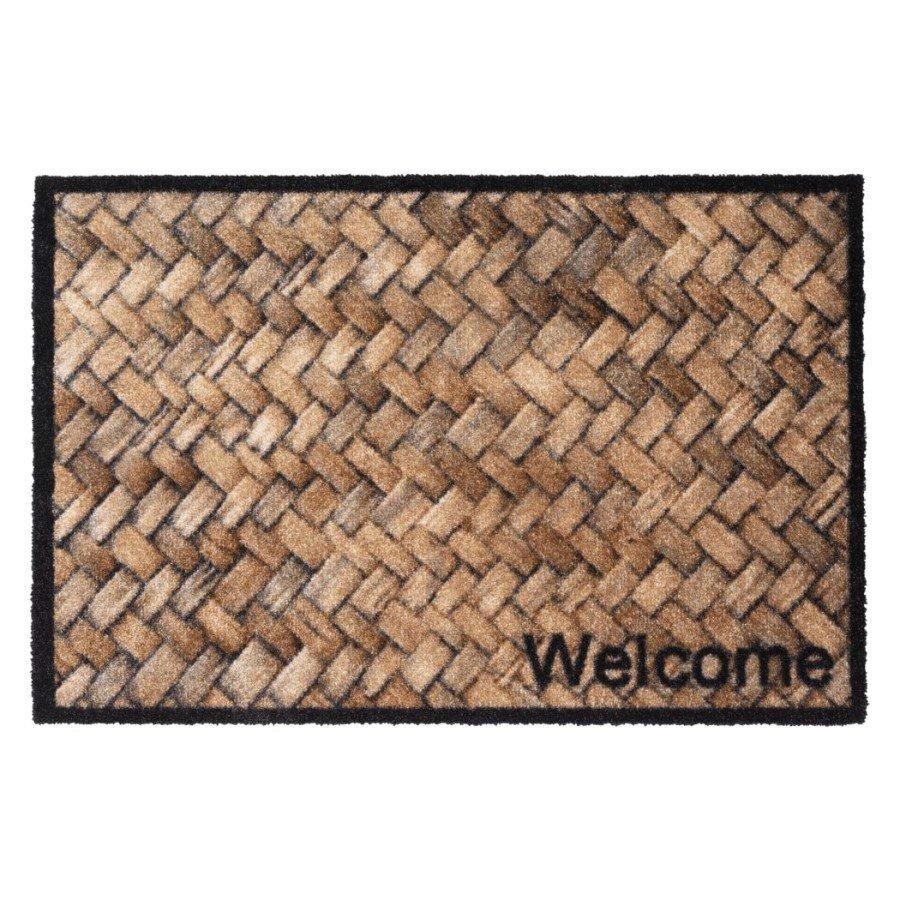 Vnitřní čistící pratelná vstupní rohož FLOMA Prestige Welcome wicker - délka 50 cm a šířka 75 cm