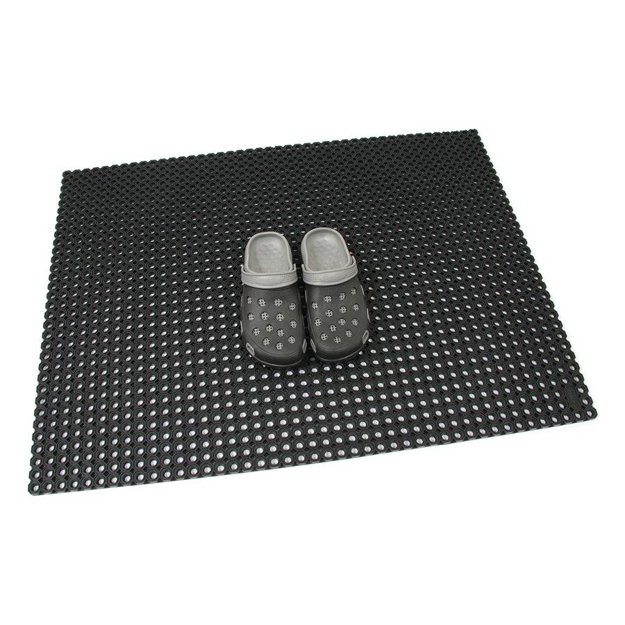 Černá gumová vstupní venkovní čistící rohož Octomat Mini - délka 75 cm, šířka 100 cm a výška 1,25 cm