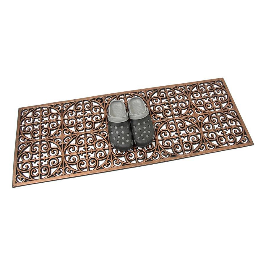 Bronzová gumová čistící venkovní vstupní rohož Circles - Deco, FLOMA - délka 45 cm, šířka 120 cm a výška 0,9 cm