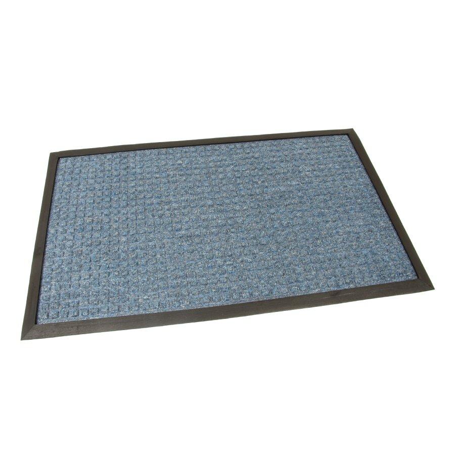 Modrá textilní vstupní venkovní čistící rohož Little Squares, FLOMAT - délka 45 cm, šířka 75 cm a výška 1 cm