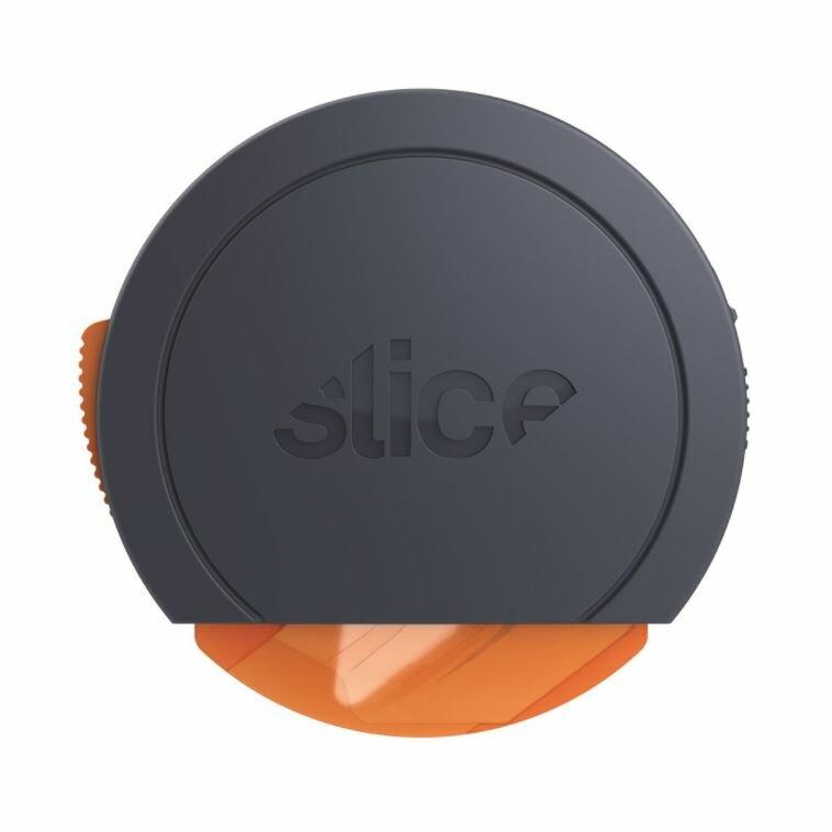 Černo-oranžový plastový malý samozatahovací nůž na krabice SLICE - délka 9 cm, šířka 9 cm a výška 2,5 cm