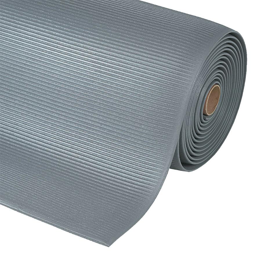 Šedá metrážová protiúnavová průmyslová rohož Sof-Tred, Crossrib - délka 1 cm a výška 1,27 cm