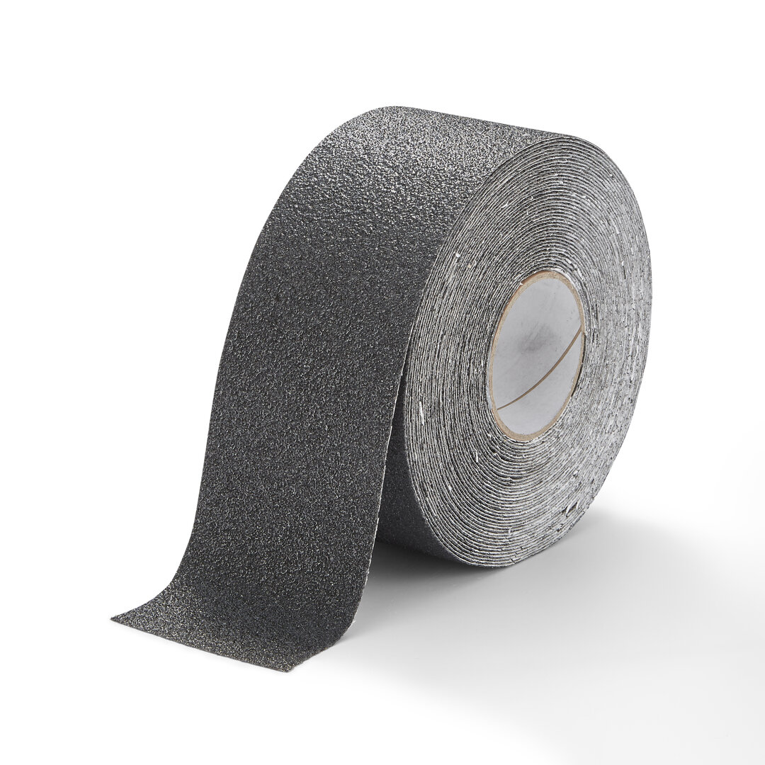 Černá korundová chemicky odolná protiskluzová podlahová páska FLOMA Extra Super - délka 18,3 m a šířka 10 cm