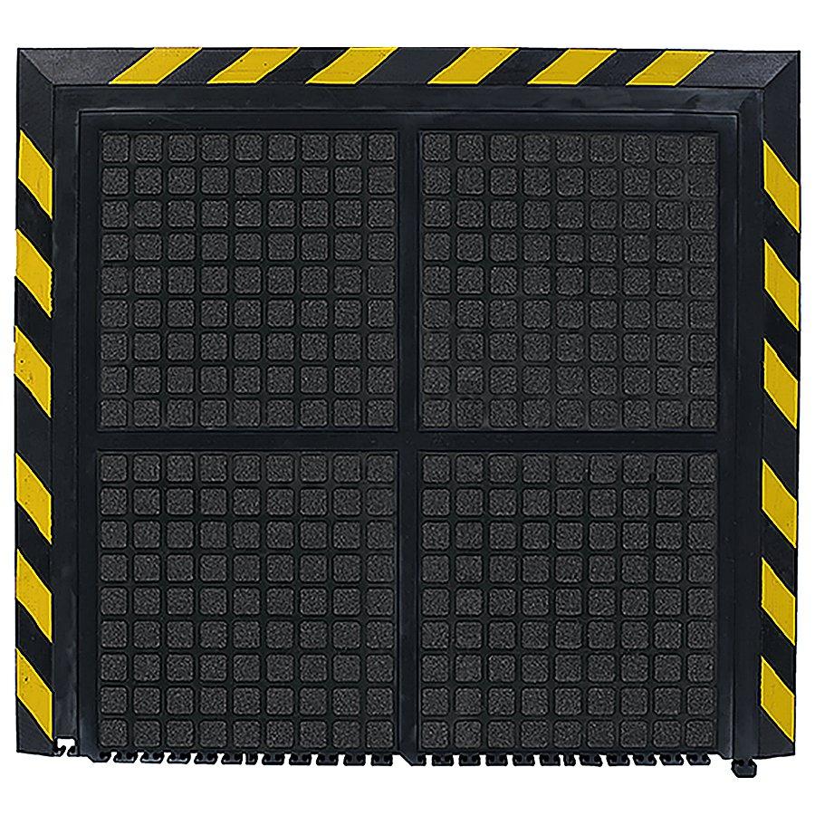 Černo-žlutá podlahová protiúnavová rohož - šířka 111 cm a výška 1,9 cm
