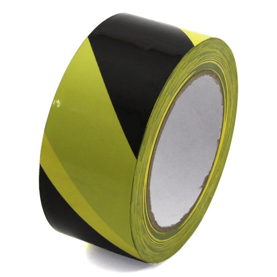 Černo-žlutá pravá výstražná páska - délka 33 m a šířka 5 cm