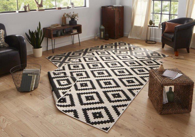 Černý oboustranný moderní koberec Twin-Wendeteppiche