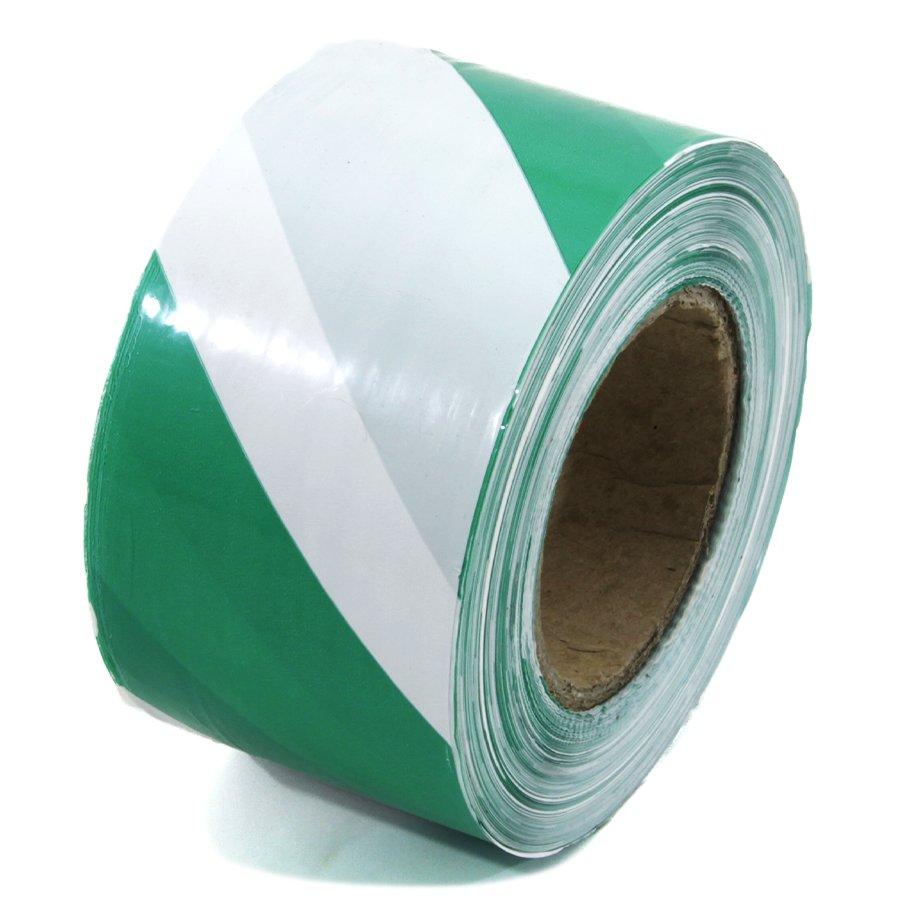 Bílo-zelená vytyčovací páska - délka 250 m a šířka 7,5 cm