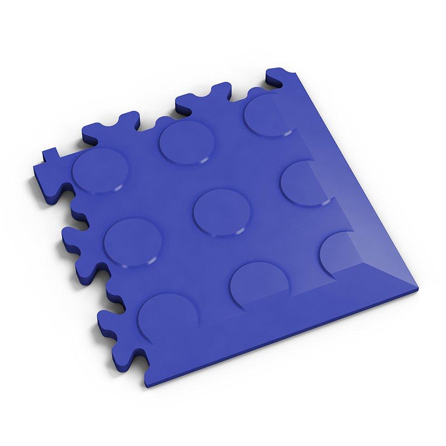 Modrý vinylový plastový rohový nájezd 2046 (penízky), Fortelock - délka 14 cm, šířka 14 cm a výška 0,7 cm