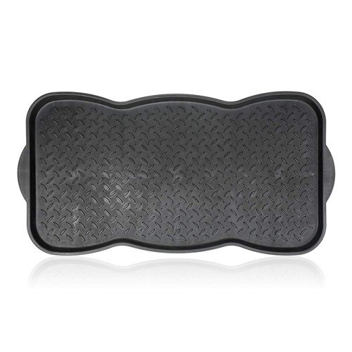 Černý plastový odkapávač na boty - délka 74 cm, šířka 36 cm a výška 3 cm
