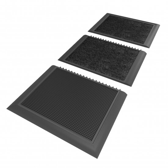 Černá gumová hygienická dezinfekční rohož Sani-Master - délka 200 cm, šířka 91,4 cm a výška 1,9 cm