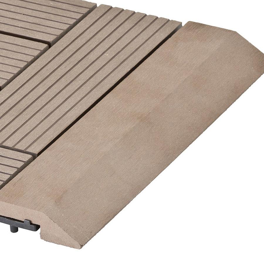 Hnědá dřevoplastová WPC rovná lišta pro dlaždice Palmyra a Samoa - délka 30 cm a šířka 7,5 cm