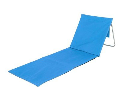 Modré skládací plážové lehátko s ocelovou konstrukcí - délka 150 cm a šířka 54 cm