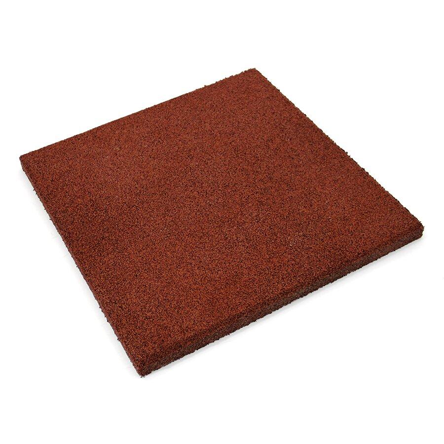 Červená gumová hladká dlažba (V30/R00) FLOMA - délka 50 cm, šířka 50 cm a výška 3 cm