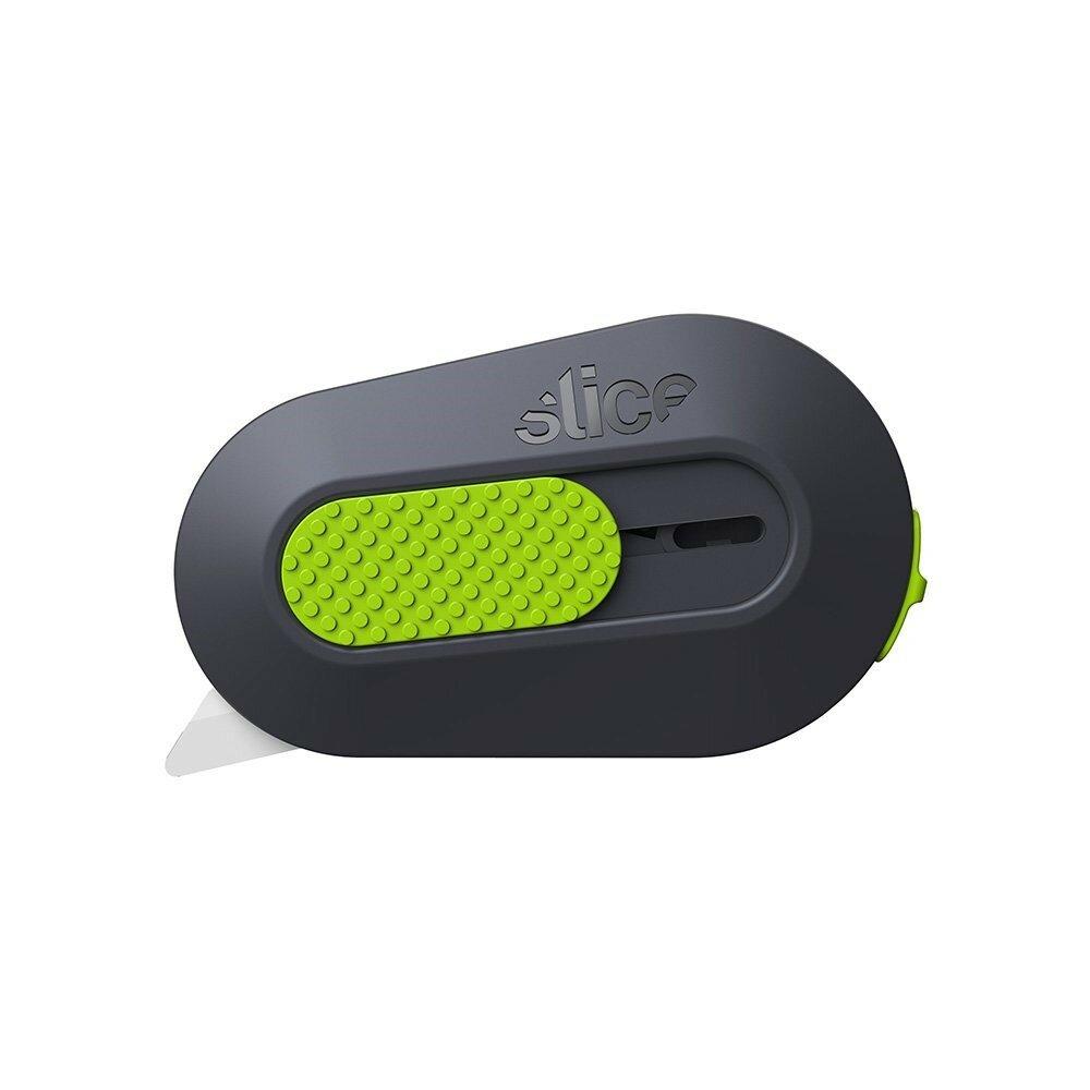 Černo-zelený plastový malý bezpečnostní samozatahovací nůž na krabice SLICE - délka 6,2 cm, šířka 3,8 cm a výška 1,2 cm