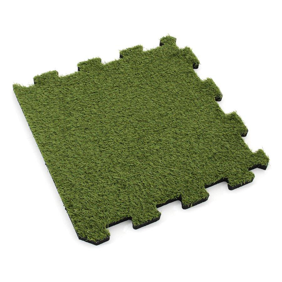 Gumová modulová puzzle dlažba s umělým trávníkem (okraj) FLOMA SportFlo S800 - délka 95,6 cm, šířka 95,6 cm a výška 2,5 cm