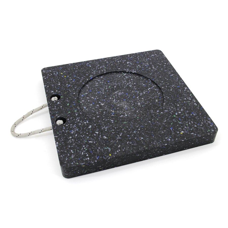 Černá plastová čtvercová podložka pod patku - 11,9 kg, délka 50 cm, šířka 50 cm a tloušťka 5 cm