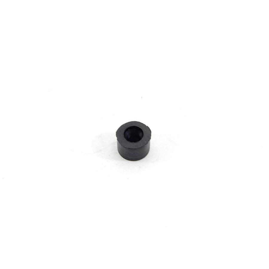 Černý pryžový válcový doraz s dírou pro šroub FLOMA - průměr 1,2 cm a výška 0,8 cm