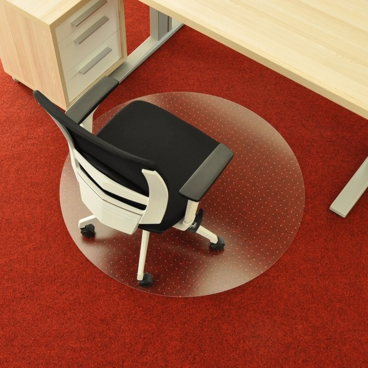 Čirá podložka pod židli na koberec - délka 90 cm, šířka 90 cm a výška 0,3 cm