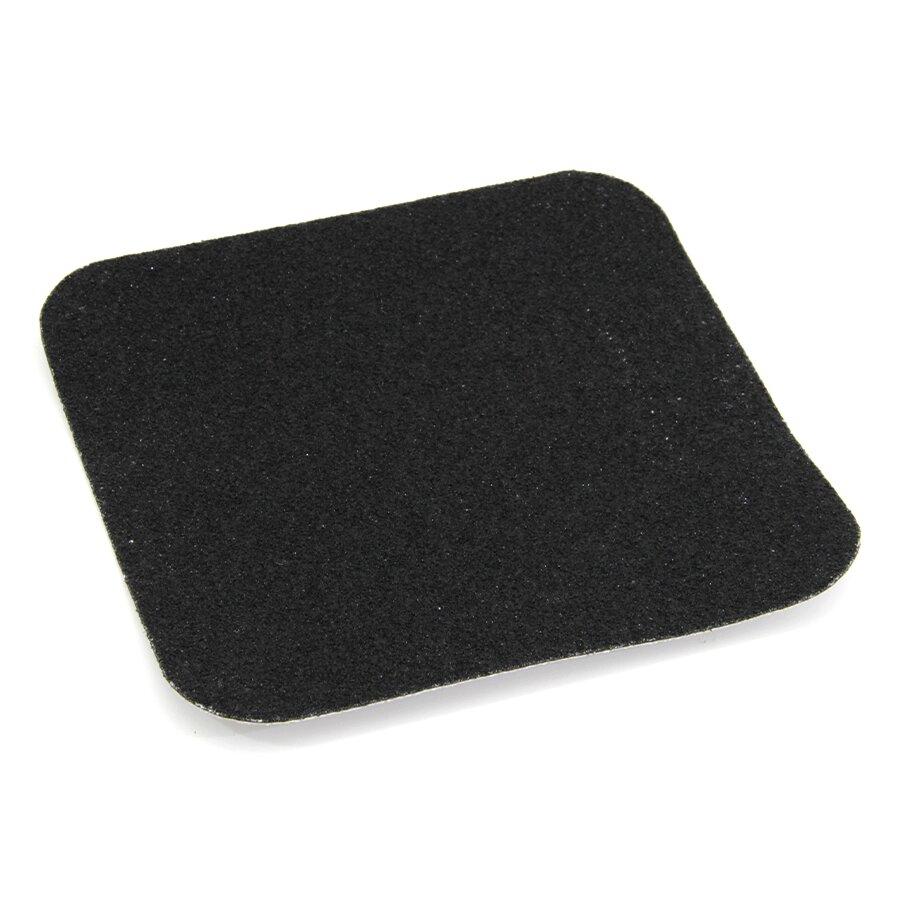 Černá korundová protiskluzová podlahová páska Standard - délka 14 cm, šířka 14 cm a tloušťka 0,7 mm