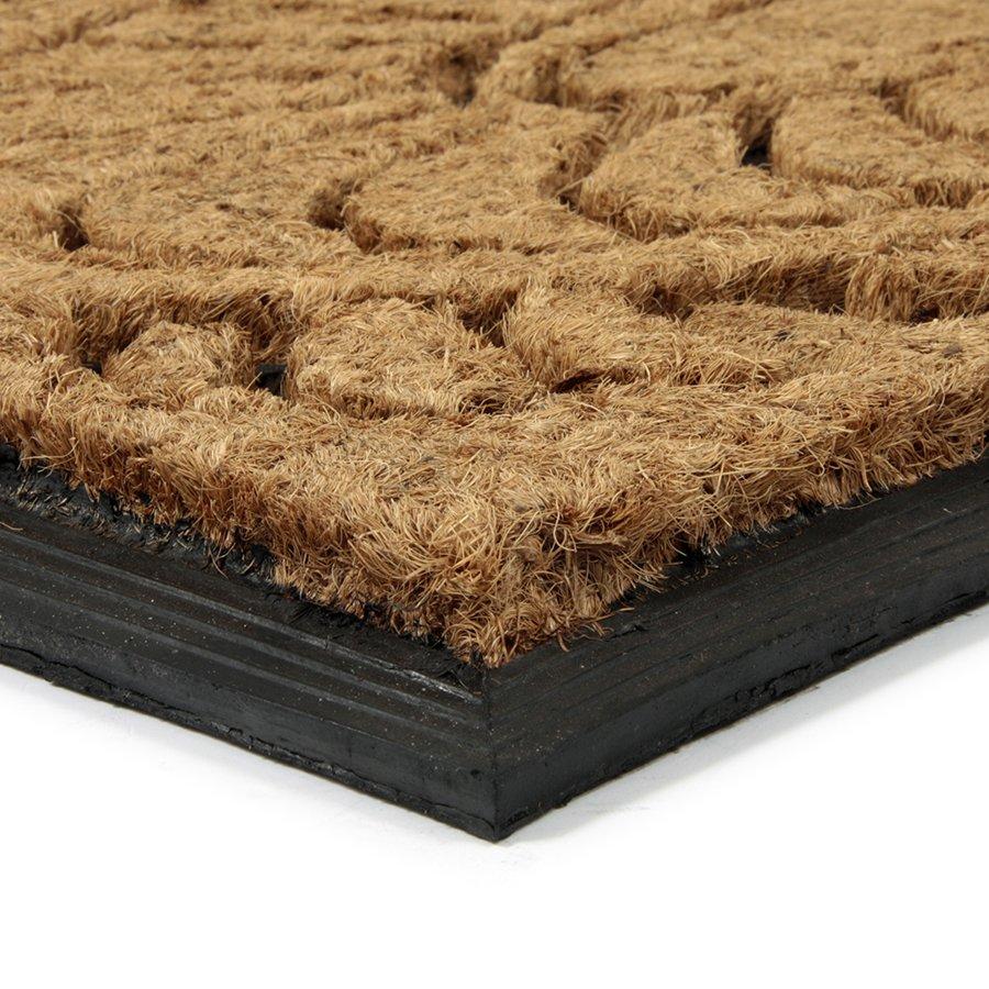 Kokosová čistící venkovní vstupní rohož Flower - Deco, FLOMAT - délka 45 cm, šířka 75 cm a výška 2,2 cm