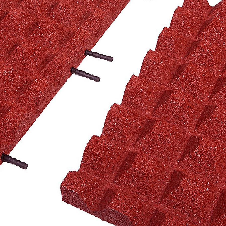 Červená gumová krajová dopadová dlaždice (V45/R28) FLOMA - délka 50 cm, šířka 25 cm a výška 4,5 cm