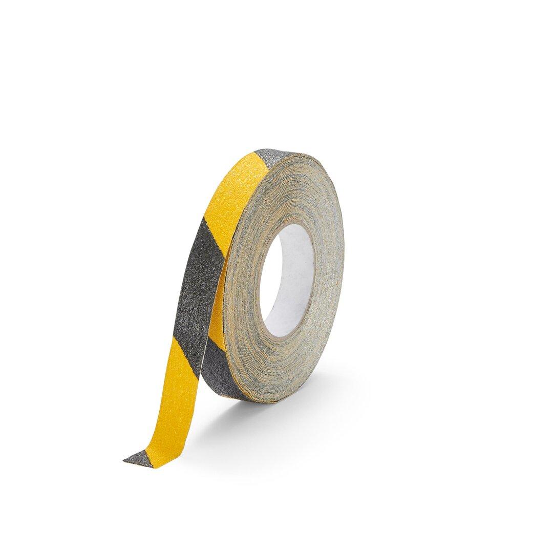 Černo-žlutá korundová protiskluzová páska pro nerovné povrchy FLOMA Conformable Hazard - délka 18,3 m, šířka 2,5 cm a tloušťka 1,1 mm