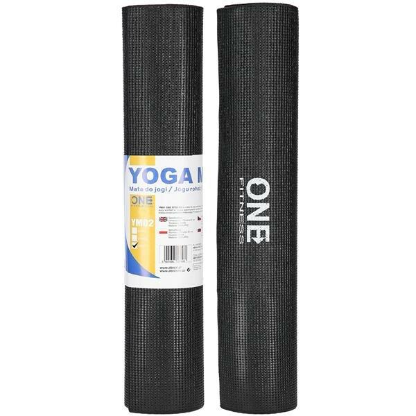 Černá podložka na jógu ONE FITNESS - délka 173 cm, šířka 61 cm a výška 0,6 cm