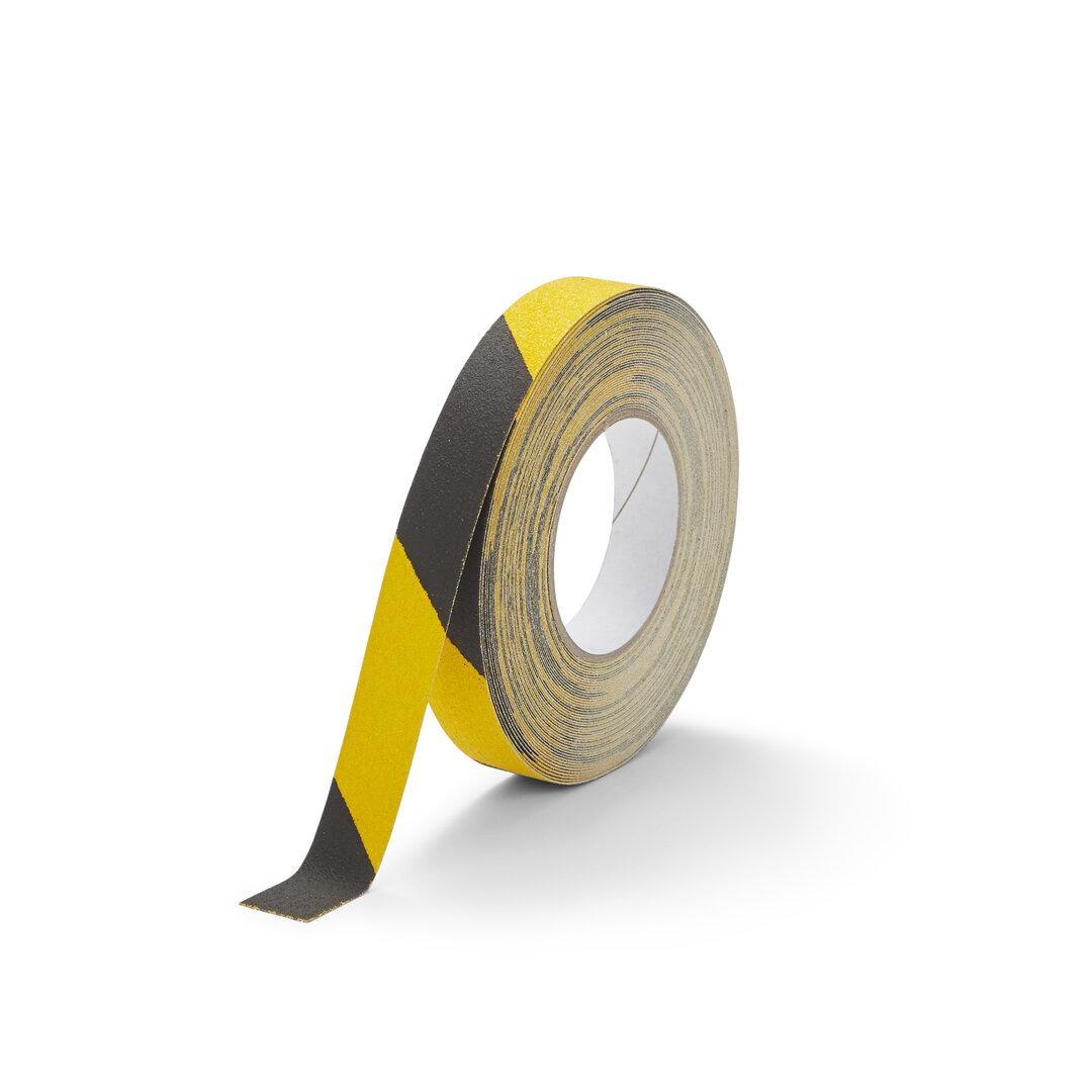 Černo-žlutá korundová snímatelná protiskluzová páska FLOMA Hazard Standard Removable - délka 18,3 m a šířka 2,5 cm