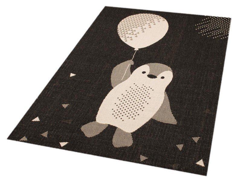 Černý kusový dětský obdélníkový koberec Vini - délka 170 cm a šířka 120 cm