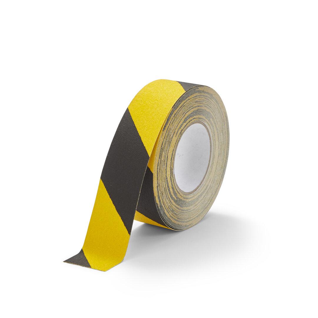 Černo-žlutá korundová snímatelná protiskluzová páska FLOMA Hazard Standard Removable - délka 18,3 m a šířka 5 cm