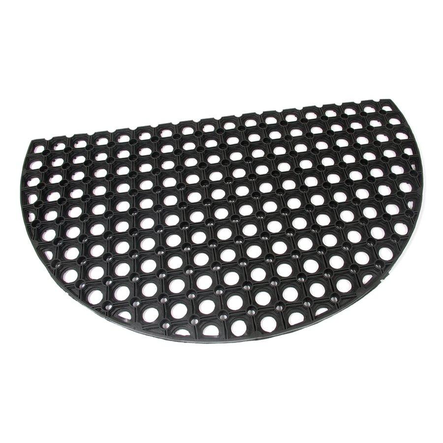 Gumová vstupní venkovní čistící půlkruhová rohož Honeycomb, FLOMA - délka 45 cm, šířka 75 cm a výška 1,6 cm