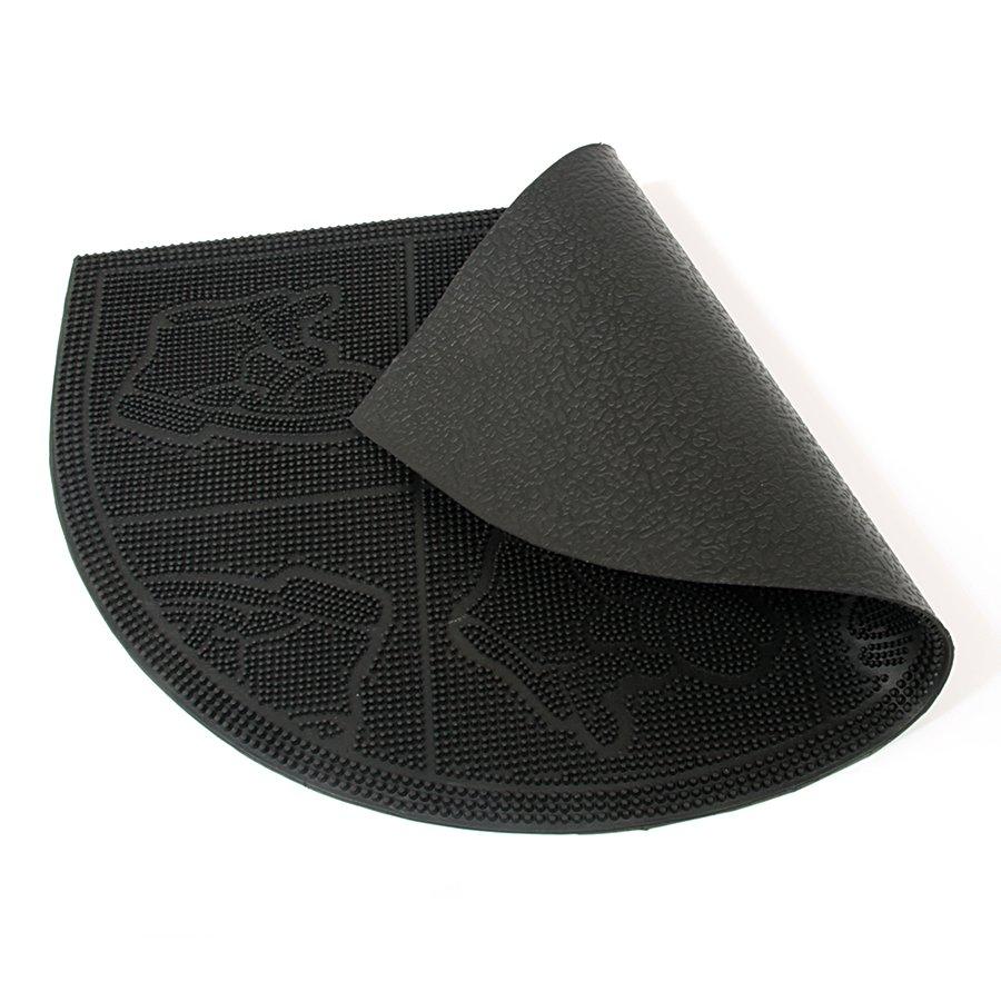 Gumová čistící venkovní vstupní půlkruhová rohož Shoes - Squares, FLOMAT - délka 40 cm, šířka 60 cm a výška 0,7 cm