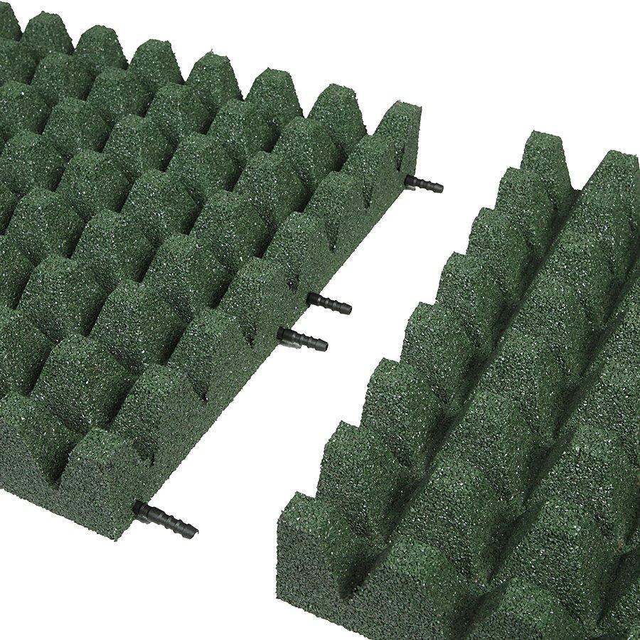 Zelená gumová dopadová dlaždice (V80/R50) FLOMA - délka 50 cm, šířka 50 cm a výška 8 cm