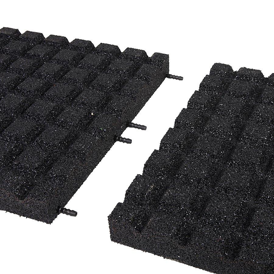 Černá gumová dopadová dlaždice (V55/R15) FLOMA - délka 50 cm, šířka 50 cm a výška 5,5 cm