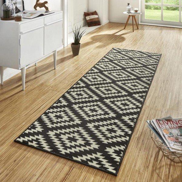 Černý moderní kusový koberec Basic - délka 400 cm a šířka 80 cm