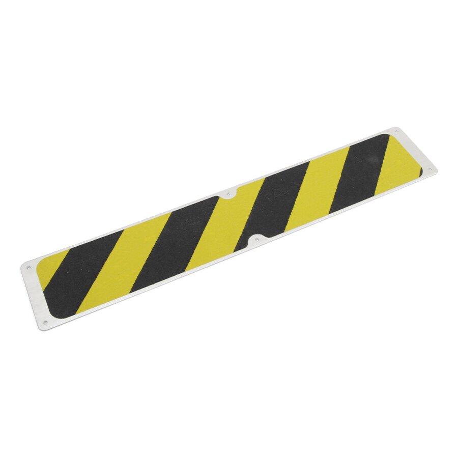 Černo-žlutý hliníkový protiskluzový nášlap na schody FLOMA Hazard - délka 63,5 cm a šířka 11,5 cm