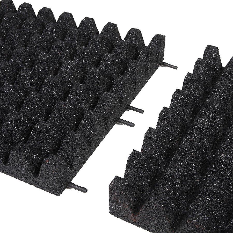 Černá gumová dlaždice (V80/R50) - délka 100 cm, šířka 100 cm a výška 8 cm