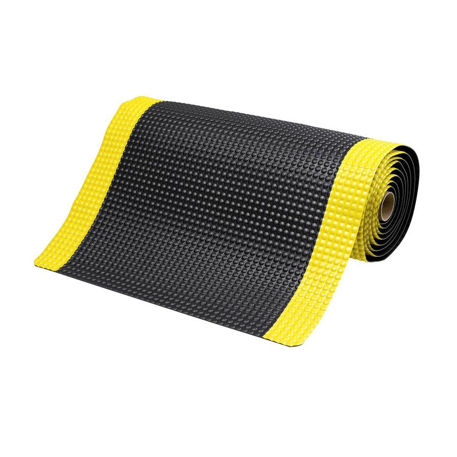 Černo-žlutá metrážová protiúnavová průmyslová laminovaná rohož - výška 1,9 cm