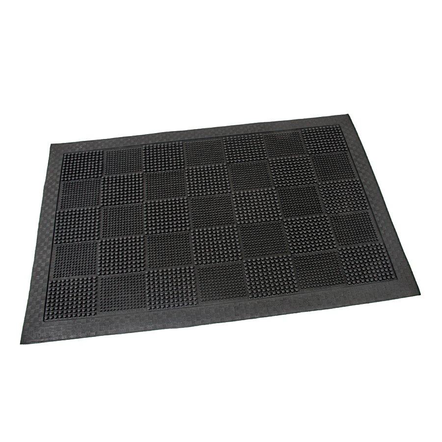 Gumová čistící venkovní vstupní rohož Pin Squares, FLOMAT - délka 40 cm, šířka 60 cm a výška 0,7 cm