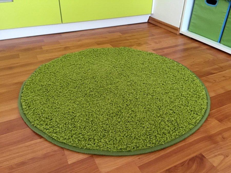 Zelený kusový kulatý koberec Shaggy - průměr 200 cm