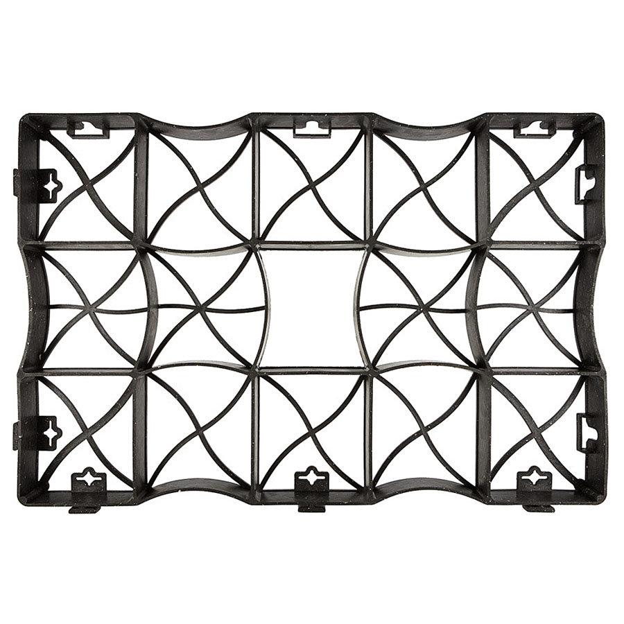 Černá plastová zatravňovací dlažba S60S - délka 60,5 cm, šířka 40,5 cm a výška 4 cm